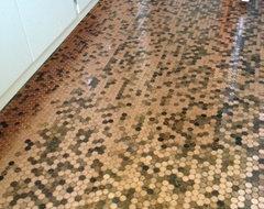 copper penny bathroom floor