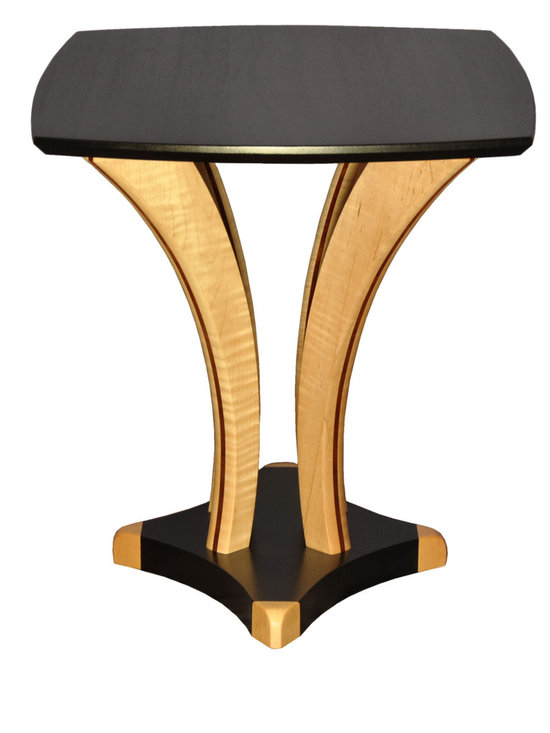 """Contemporary Art End Table - Solid Sapele and Tiger Maple. Many Woods and colors available. 21"""" x 26"""" x 22"""" high"""