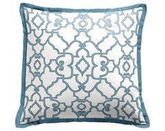 Blue & White Tailored Throw Pillow - Square decorative-pillows