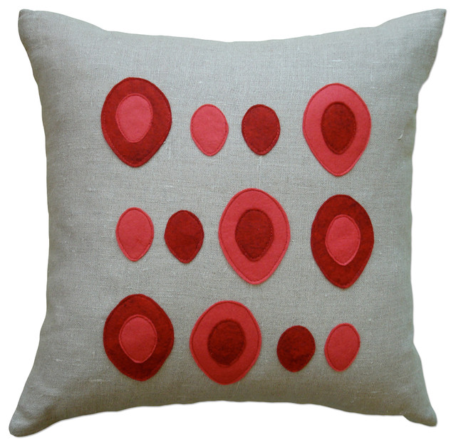 Felt Applique Linen Pillow - Eggs, Red/Strawberry, 16x16 - Contemporary - Decorative Pillows ...
