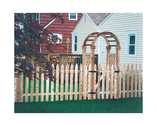 Wood Fences - Victorian Spaced Picket fence with custom wood arbor