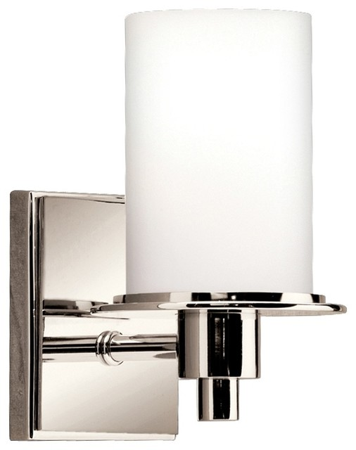 """Contemporary Polished Nickel and Etched Glass 8 1/2"""" High Wall Sconce contemporary-wall-lighting"""