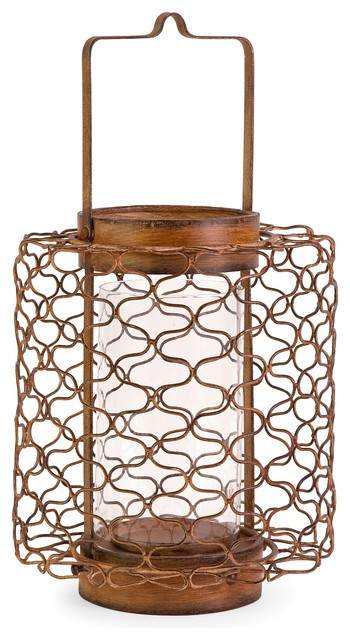 Escate Wire Lantern with Glass Hurricane - Small transitional-tabletop