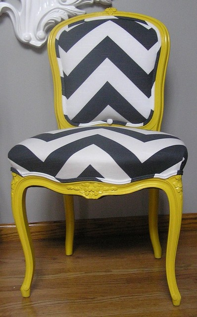 Yellow And Charcoal Chevron French Provincial Side Chair By Upcycled Home eclectic-living-room-chairs