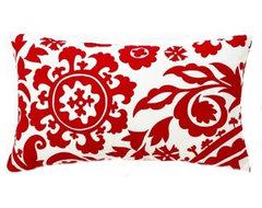 Red Suzani Lumbar Pillow contemporary-pillows