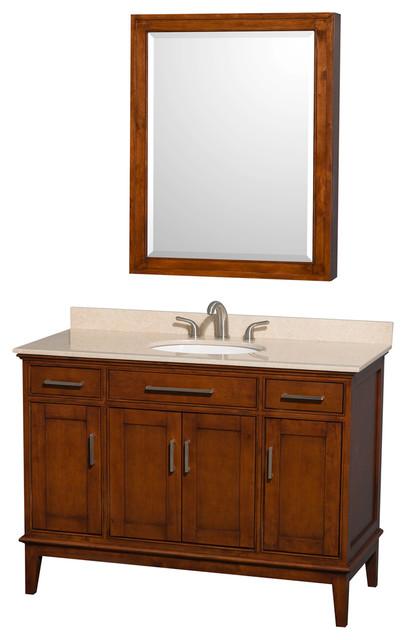hatton 48 light chestnut vanity ivory marble top round