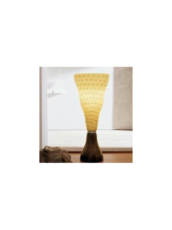 Vivia T Table Lamp By Leucos Lighting - Large-scale, striking table lamp with black glass base embedded with gold leaf.