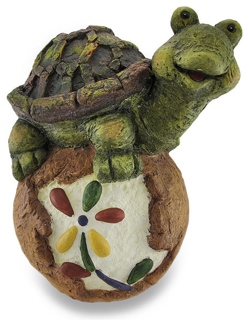 Whimsical turtle on a flower rock sculpted garden statue for Whimsical garden statues
