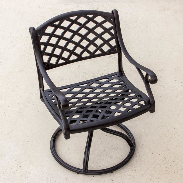 Heritage Cast Aluminum Patio Swivel Rocker Dining Chair Modern Outdoor Di
