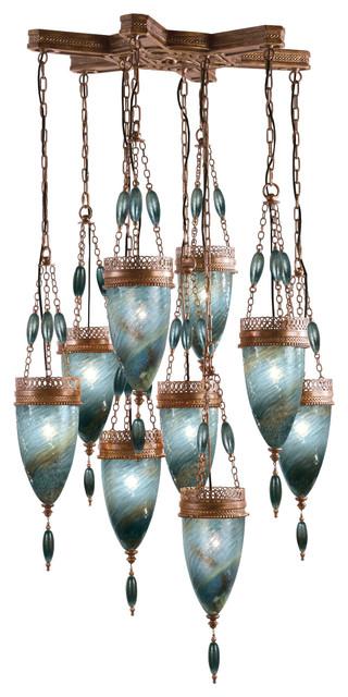 Scheherazade Blue Glass Pendant, 611040-3ST, by Fine Art Lamps mediterranean-pendant-lighting