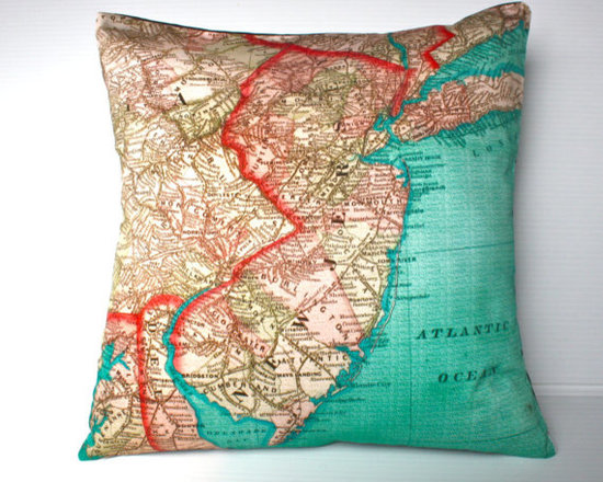 Decorative New Jersey Map Throw Pillow by My Bearded Pigeon -