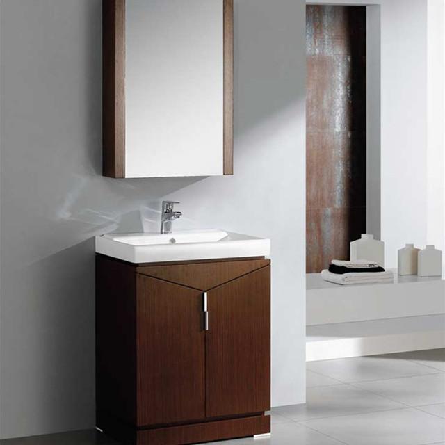 24 inch wenge brown modern bathroom vanity with medicine cabinet