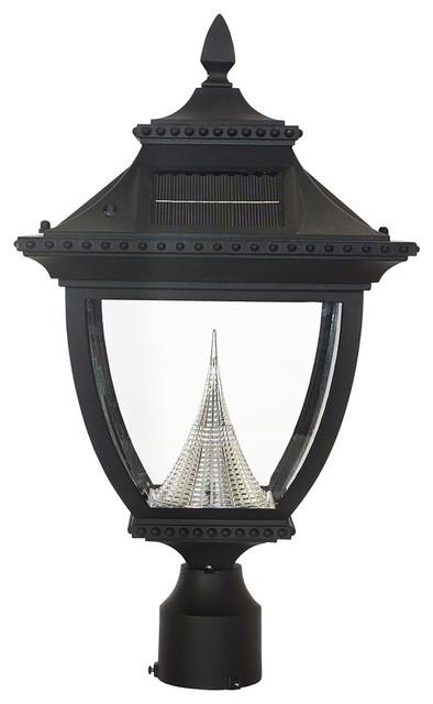 Traditional Pagoda Solar 6000K 3.2 Watt LED Black Post Light traditional-post-lights