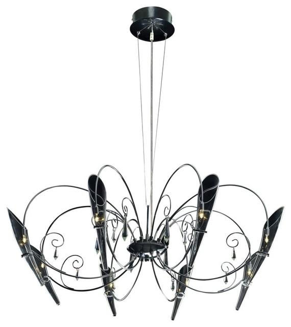 ET2 E20716-18 Belleza Chandelier - 35W in. Satin Nickel modern-chandeliers