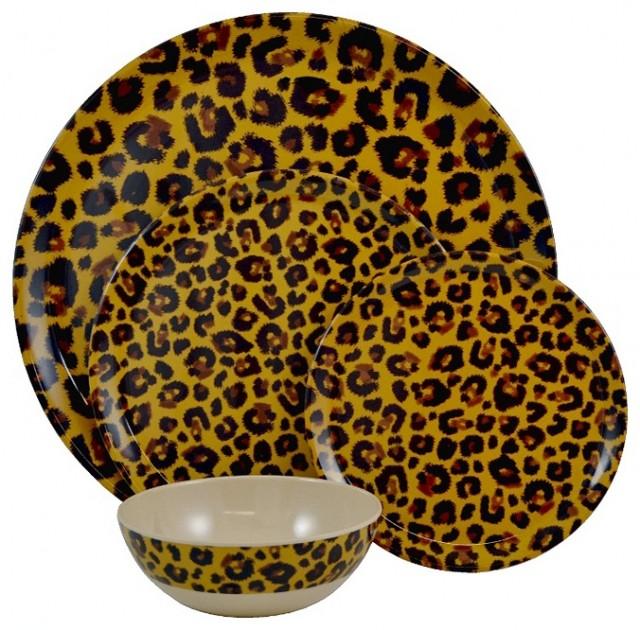 Tango Leopard 13-piece Melamine Dinnerware Set eclectic-dinnerware
