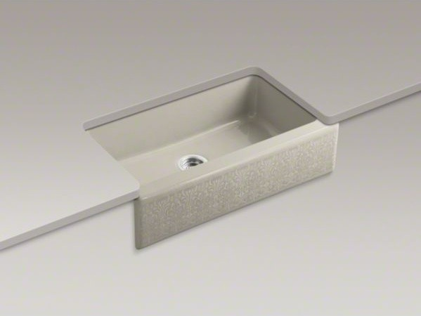 "KOHLER Alencon Lace(TM) design on Dickinson(R) 33"" x 22-1/8"" x 8-3/4"" under-moun contemporary-kitchen-sinks"