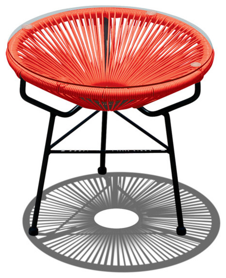 Acapulco Patio Side Table and Ottoman, Atomic Tangerine modern-outdoor-footstools-and-ottomans