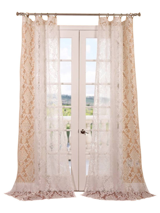 """Exclusive Fabrics & Furnishings, LLC - Antoinette White Patterned Sheer Curtain - 100% Polyester. 3"""" Pole Pocket. Imported. Dry Clean Only."""