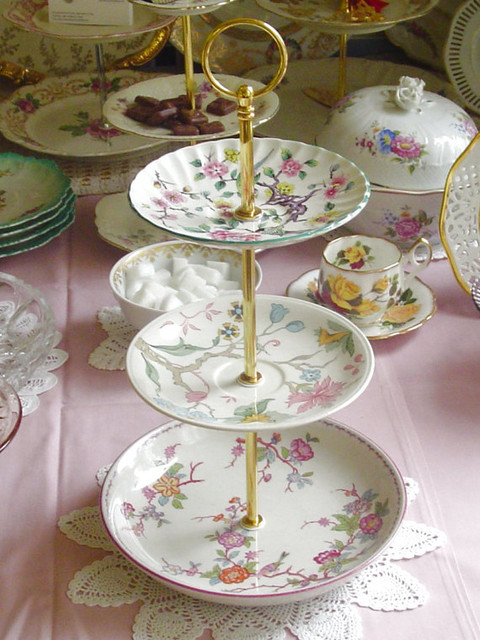 Etagere 3 Tiers of Chintz Cake Stand by Sip & Savor traditional-dessert-and-cake-stands