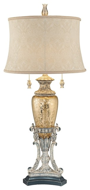 Traditional Jessica McClintock Romance Gold and  Silver Urn Table Lamp traditional-table-lamps