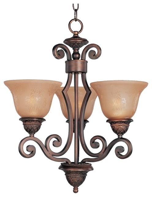 Transitional Symphony Collection Three Light Bronze Chandelier contemporary-chandeliers