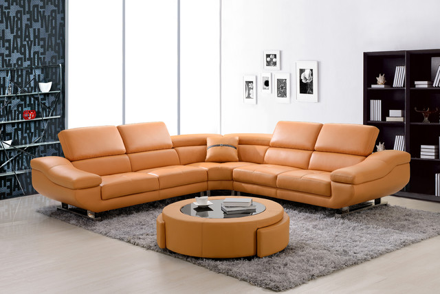 Modern Orange Leather Sectional Sofa Corner Couch Soft
