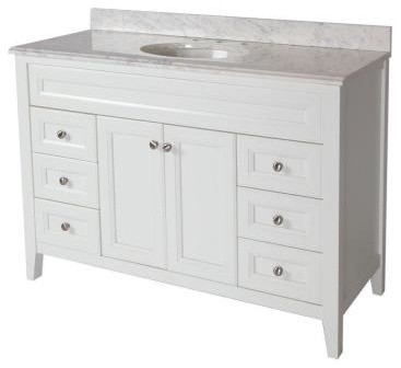 St. Paul Brisbane 48-1/2 in. Bathroom Vanity in White with Stone Effects Bathroo contemporary-bathroom-vanities-and-sink-consoles