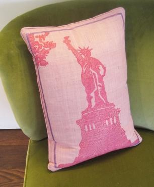 Hand-Cross-Stitched Statue of Liberty Cushion eclectic-decorative-pillows