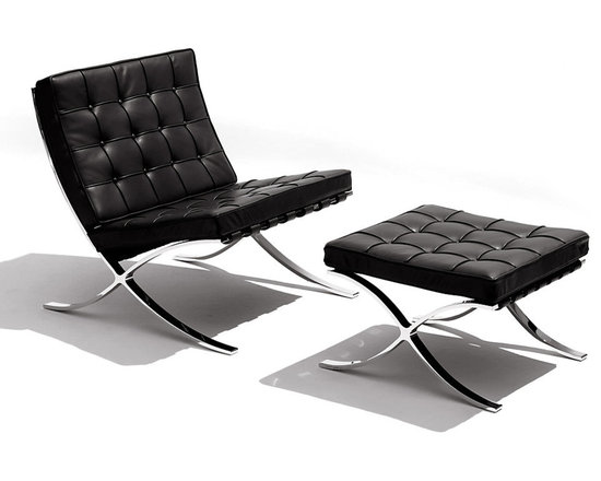 Knoll - Barcelona Lounge Chair and Ottoman - Strike a languid pose when you lounge back in this modern, attractive chair. Put your feet up on the gorgeous matching ottoman, enjoying the comfortable angles and the chic materials of stainless steel and luxe leather. This iconic Barcelona chair designed by Ludwig Mies van der Rohe is an absolute must-have piece.