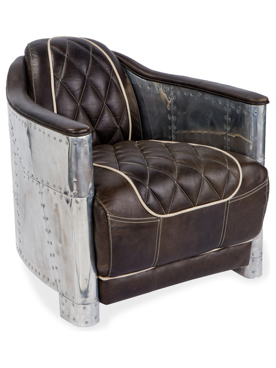 Kathy Kuo Home - Aarnio Industrial Loft Aluminum Espresso Black Leather Arm Chair - Rosie Riveter strikes again. With its riveted aluminum paneling, this armchair calls to mind the early days of aviation, sparking your imagination as well as your living room. Playful white piping stands out against the rich brown leather, inviting you to sit back and enjoy this comfortable, unique chair.