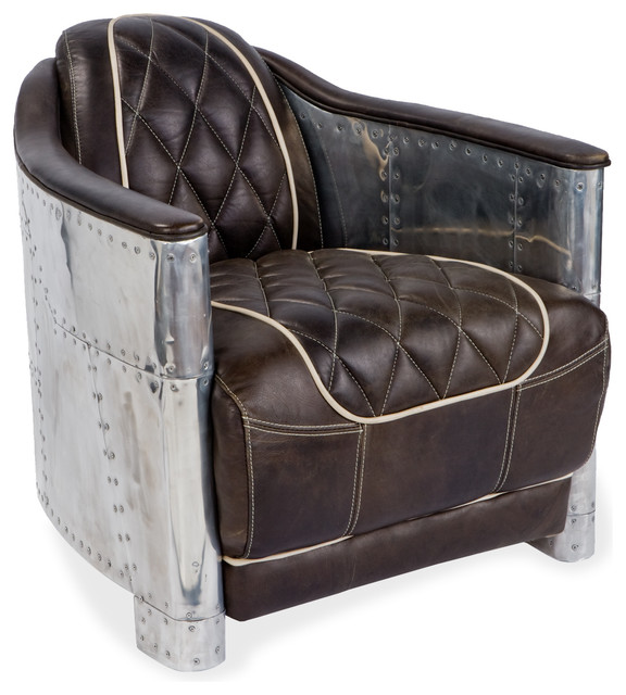Aarnio Aluminum/Espresso Leather Armchair transitional-accent-chairs