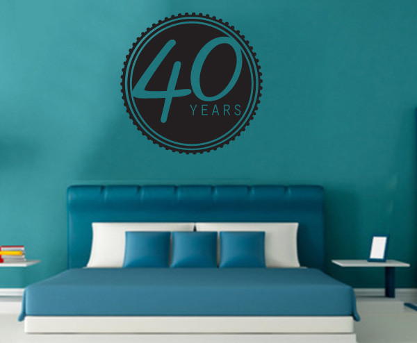 40 Years Vinyl Wall Decal ce03440yrsviii, Metallic Gold, 60 in. contemporary-wall-decals