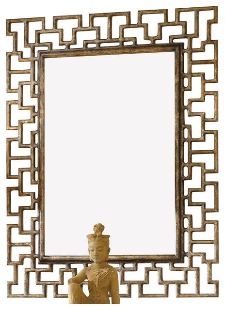 Hooker Furniture Melange Fretwork Mirror in Gold Finish asian-mirrors