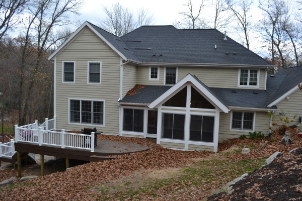 Sunroom and deck traditional-exterior