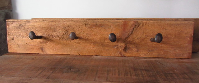 Reclaimed wood and steel coat hook wall-hooks