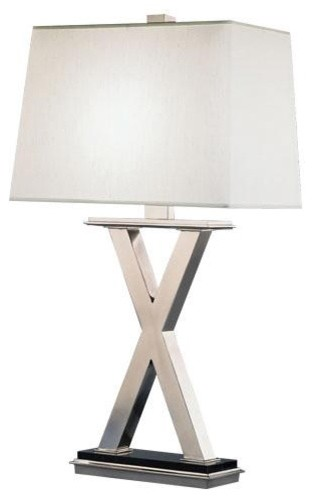 Robert Abbey Tic-Tac-Toe X Table Lamp in Antique Silver traditional-table-lamps