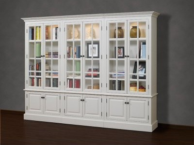 A and E Brighton 3 Piece Wall Display Bookcase - Pearl White modern-storage-units-and-cabinets