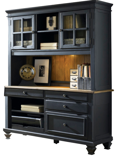 executive credenza with hutch in black transitional desks and hutches