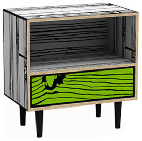Wrongwoods collection Night Table (white/green) eclectic-nightstands-and-bedside-tables