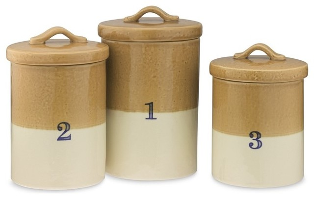 Dipped glaze canisters traditional kitchen canisters for Hearth and home designs canister set