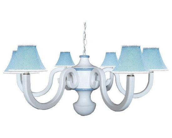 "Country Blue Large Scroll Chandelier - Make a grand statement with our large six arm scroll chandelier in white and medium blue. Coordinating country blue gingham shades make this cottage chandelier complete Measuring 36"" in diameter, the striking chandelier is perfect for those extra large rooms or kitchen."