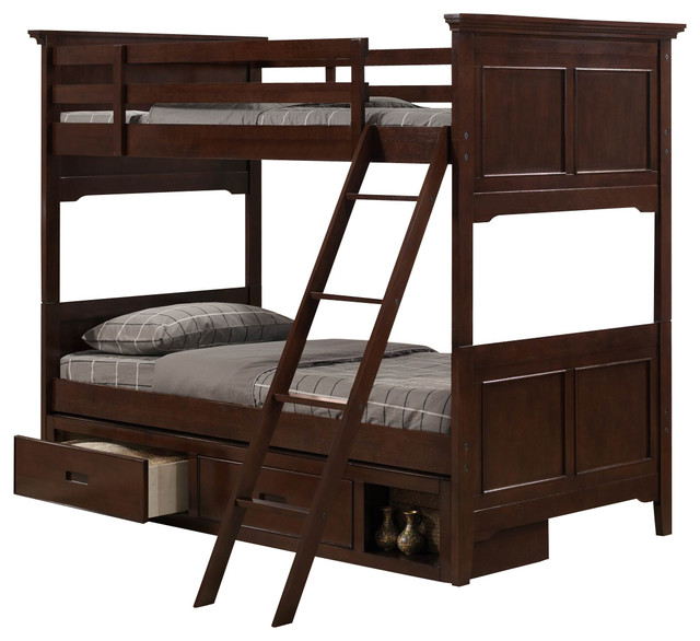 ... Jordan Bunk Bed in Cherry - Twin over Twin traditional-bunk-beds
