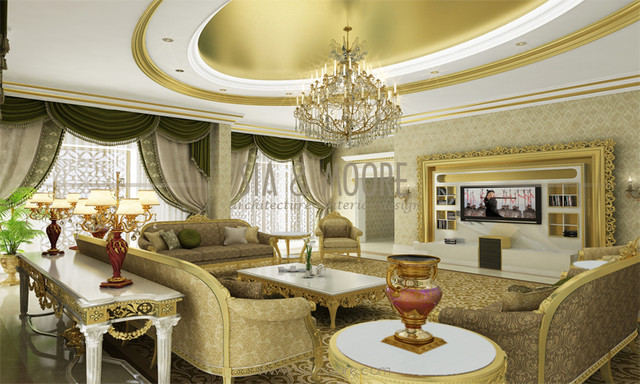 Doha mansion 1 qatar traditional living room other for Home decor qatar