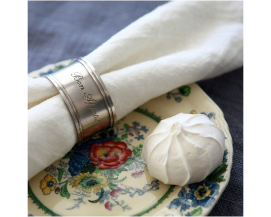 Pom Pom at Home Bon Appetit Round Silver Napkin Rings - The Pom Pom at Home Collection is defined by its nod to vintage style, element of glamour, sophistication and high quality materials.