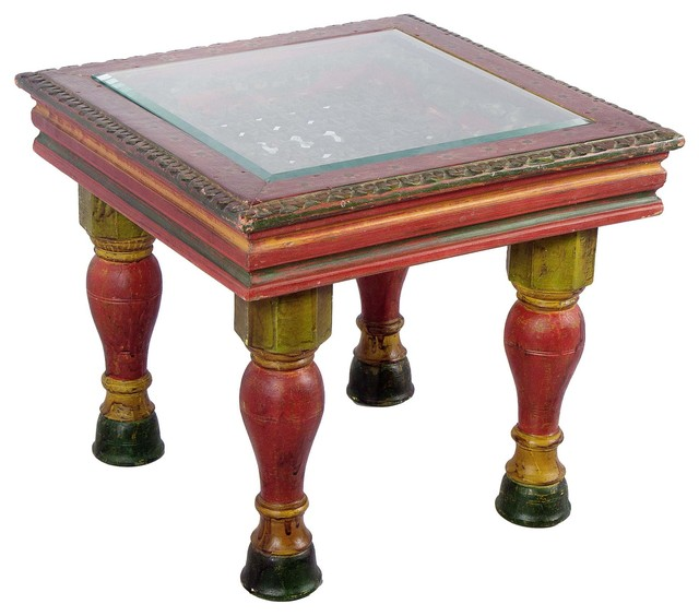 Oriental Glass Top Coffee Table: Hand Painted Wooden Carved Coffee Table With Glass Top
