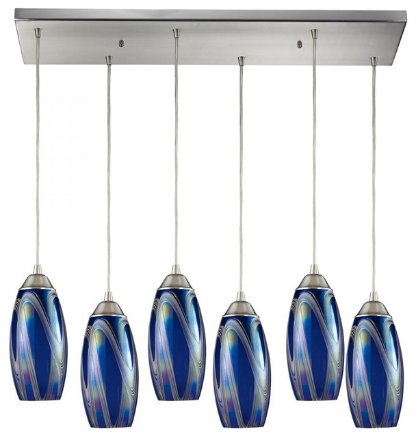 Six Light Satin Nickel Storm Blue Glass Multi Light