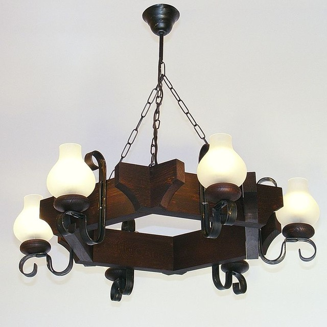 Queen Chandelier Six Lights Wrought Iron Arms Brown Wood