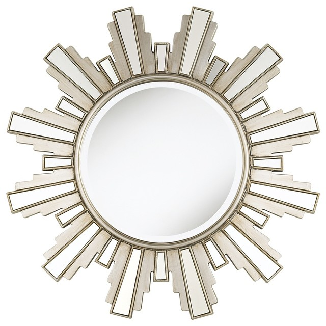 Decorative Wall Mirror Lamps Plus : Accent duomo sunburst silver finish quot wide wall mirror