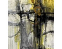 Gray Yellow and Black I eclectic artwork