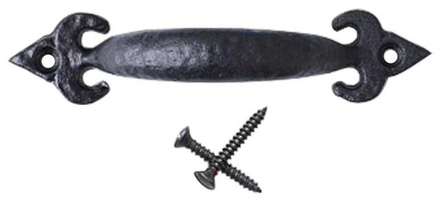 drawer pulls wrought iron black fleur de lis pull 3 7 8